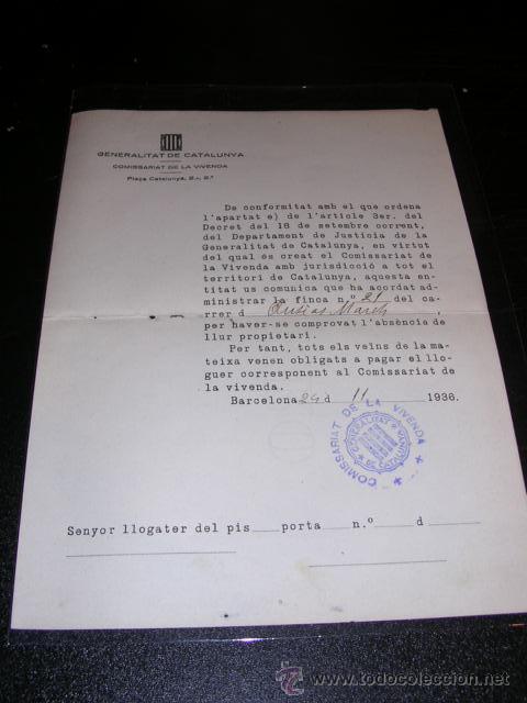 DOCUMENTO,GENERALITAT DE CATALUNYA,COMISSARIAT DE LA VIVENDA,BARCELONA 1936-23X17 CM. (Militar - Guerra Civil Española)