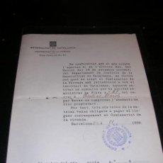 Militaria: DOCUMENTO,GENERALITAT DE CATALUNYA,COMISSARIAT DE LA VIVENDA,BARCELONA 1936-23X17 CM.. Lote 23574815