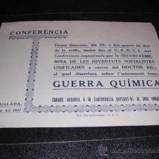 Militaria: PANFLETO,IGUALADA 1937,CONFERENCIA GUERRA QUIMICA,IMP. COL-LECTIVITZADA,UGT.SECCIO FEMENINA DE LES. Lote 23684489