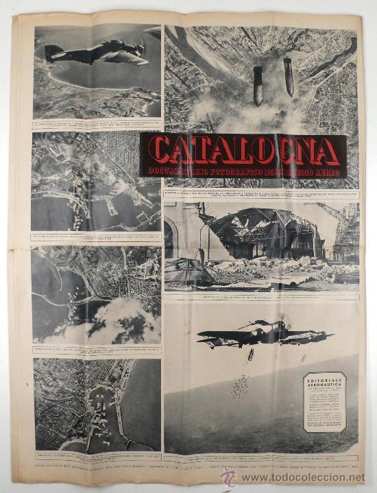 Militaria: CATALOGNA, guerra civil. Documentario fotográfico dell assedio aereo. Periódico 57 x 42 cm cerrado - Foto 4 - 24255442