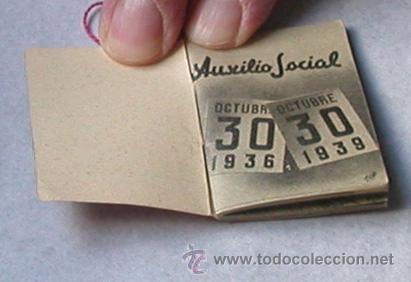 Militaria: Auxilio Social 1936/1939.Librito de 35 paginas. Tamaño 3,5x5 cm. - Foto 2 - 26318893