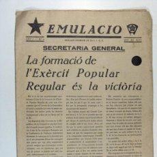 Militaria: EMULACIO, BOLETIN INTERIOR DE LA J.S.U.C. REPUBLICA. Nº 4 . ABRIL DE 1937. Lote 25426766