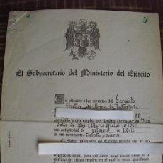 Militaria: DESPACHO DE EMPLEO MILITAR CON ANTIGÜEDAD DE 1 DE ABRIL DE 1939. Lote 27473383