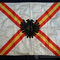 Militaria: SPANISH CIVIL WAR 1936-39 PERIOD RARE CARLIST UNIT'S PENANT. APPROX. 30 X 40 CM. Lote 27624247