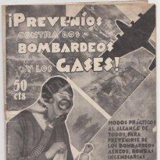 Militaria: PREVENIOS CONTRA LOS BOMBARDEOS Y LOS GASES DR WOOR HACK BARCELONA 1936. Lote 27756669