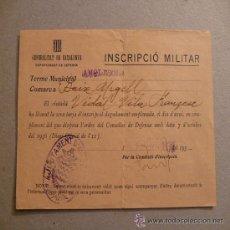 Militaria: INSCRIPCION MILITAR GUERRA CIVIL GENERALITAT DE CATALUNYA. Lote 28217255
