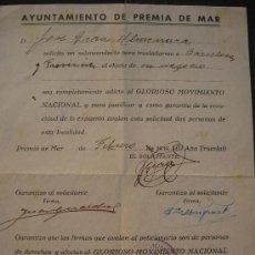 Militaria: 1939. SALVACONDUCTO DE PREMIA DE MAR. FIRMAS Y AVALES. GUERRA CIVIL CATALUÑA CATALUNYA SAN CRISTOBAL. Lote 28690520