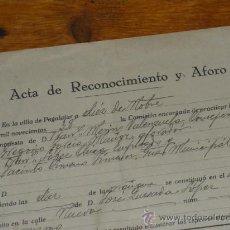 Militaria: ACTA DE RECONOCIMIENTO Y AFORO. ARBITRIO SEGUN ESPECIES. 1938 GUERRA CIVIL.. Lote 29022702