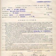 Militaria: CONTRATO ENGRASE ASCENSOR. MADRID 1937 SELLO COMITÉ OBRERO CONTROL UGT – CNT. Lote 29602619