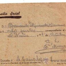 Militaria: RECIBO AUXILIO SOCIAL AÑO 1938 - GUERRA CIVIL. Lote 30019771