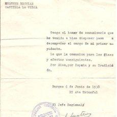 Militaria: NOMBRAMIENTO DE PRIMER AYUDANTE DEL REQUETÉ ESCOLAR DE CASTILLA LA VIEJA. BURGOS, 1938. Lote 30548057