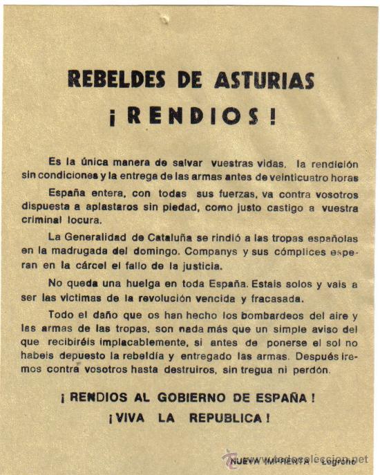 PROPAGANDA POLITICA - REBELDES DE ASTURIAS , RENDIOS (Militar - Guerra Civil Española)