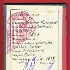 Militaria: CARNET GUERRA CIVIL, SINDICATO DE TRANSPORTES, UGT, VALENCIA, 1937, ,ORIGINAL . Lote 31320415