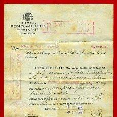 Militaria: DOCUMENTO GUERRA CIVIL, CERTIFICADO MEDICO MILITAR, APTO AUXILIAR OCUPACION, 1938,ORIGINAL. Lote 31320708