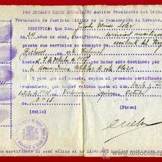 Militaria: DOCUMENTO GUERRA CIVIL, CERTIFICADO TRIBUNAL COMANDANCIA MILITAR VALENCIA, 1938,ORIGINAL. Lote 31320823