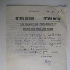 Militaria: OCTUBRE 1936 LICENCIA VIAJE AL FRENTE DE ASTURIAS COCHE HUDSON C-2717. Lote 31563805
