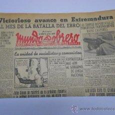 Militaria: GUERRA CIVIL AÑO 1938.PERIODICO MUNDO OBRERO 27 AGOSTO.DIBUJO DE MICIANO.CASTUERA . Lote 31889282