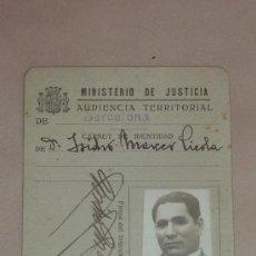 Militaria: CARNET REPUBLICANO DEL MINISTERIO DE JUSTICIA, AUDIENCIA TERRITORIAL DE BARCELONA, 1936. Lote 32781365