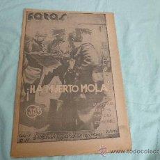 Militaria: PERIODICO ..FOTOS..HA MUERTO MOLA..1937..GUERRA CIVIL..ZONA NACIONAL .. Lote 35609932