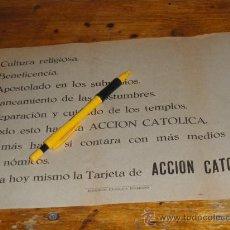 Militaria: PEQUEÑO CARTEL DE ACCION CATOLICA, GUERRA CIVIL. EDITORIAL CATOLICA TOLEDANA.. Lote 36600900