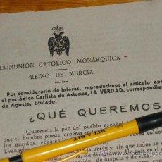 Militaria: COMUNION CATOLICO MONARQUICA, REINO DE MURCIA. CARLISMO, BOLETIN CARLISTA.. Lote 36600937