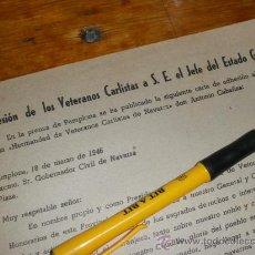 Militaria: ADHESION DE LOS VETERANOS CARLISTAS A S. E. EL JEFE DEL ESTADO GENERALISIMO FRANCO, PAMPLONA 1946.. Lote 36625755