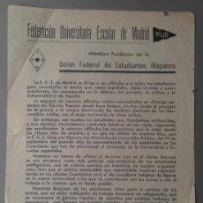 Militaria: PASQUÍN GUERRA CIVIL FUE FEDERACIÓN UNIVERSITARIA ESCOLAR MADRID. EJERCITO POPULAR! 16X22 CM. Lote 36825229