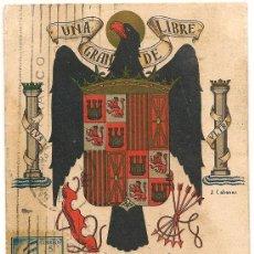 Militaria: UNA GRANDE Y LIBRE - 1940 - TARJETA POSTAL - CIRCULADA - VALENCIA - BARCELONA. Lote 135291490