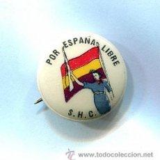 Militaria: MUY MUY RARA CHAPITA SOLIDARIDAD CON LA REPUBLICA ESPAÑOLA - CON PIE DE FABRICA - EXCELENTE. Lote 37210470