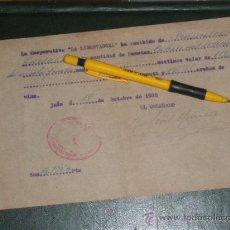 Militaria: COOPERATIVA LA LIBERTADORA, VALDEPEÑAS, CIUDAD LIBRE (REAL) 1938. ARROBAS DE VINO, GUERRA CIVIL.. Lote 37328416