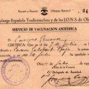 Militaria: CERTIFICADO DEL SERVICIO DE VACUNACIÓN ANTITÍFICA - FALANGE ESPAÑOLA - AÑO 1939.. Lote 37331760
