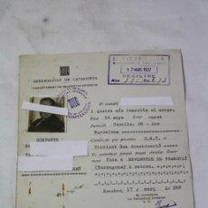 Militaria: PERMISO DE MOVIMIENTO- GENERALITAT CATALUNYA - DEPARTAMENTO SEGURIDAD AÑO 1937 GUERRA CIVIL - CNT. Lote 37586875