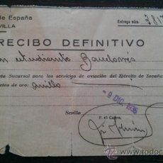 Militaria: 1936. CONTRIBUCION DE GUERRA ANILLO DE ORO. SEVILLA BARCELONA AVIACION GUERRA CIVIL BANCO DE ESPAÑA. Lote 37859177