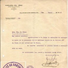 Militaria: 1937 VALENCIA SELLO COMITE CONTROL UGT VILLANUEVA DE CASTELLON. GUERRA CIVIL. CARTA PAPELERIA GRAO. Lote 38702723