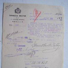 Militaria: FARMACIA MILITAR, 2ª DIVISION ORGANICA , SEVILLA 1938. NOTIFICACION. MEMBRETE REPUBLICANO ...... Lote 41756889