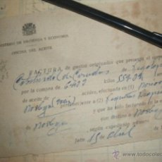 Militaria: MINISTERIO DE HACIENDA Y ECONOMIA, OFICINA DEL ACEITE. JAEN, ABRIL 1938, GUERRA CIVIL. . Lote 42022878