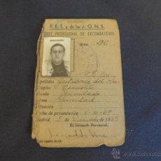 Militaria: ANTIGUO CARNET DE EXCOMBATIENTE DE FALANGE, TENIENTE SANIDAD, 1939, GUERRA CIVIL. MADRID. Lote 42851394