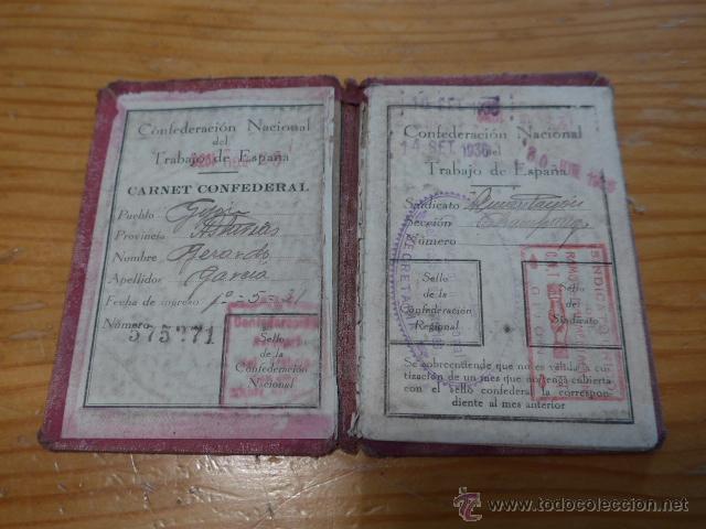 Militaria: Antiguo carnet de CNT, gijon, asturias. Guerra civil - Foto 2 - 42882045