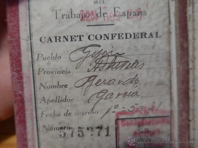 Militaria: Antiguo carnet de CNT, gijon, asturias. Guerra civil - Foto 3 - 42882045