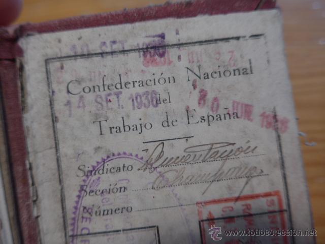 Militaria: Antiguo carnet de CNT, gijon, asturias. Guerra civil - Foto 5 - 42882045