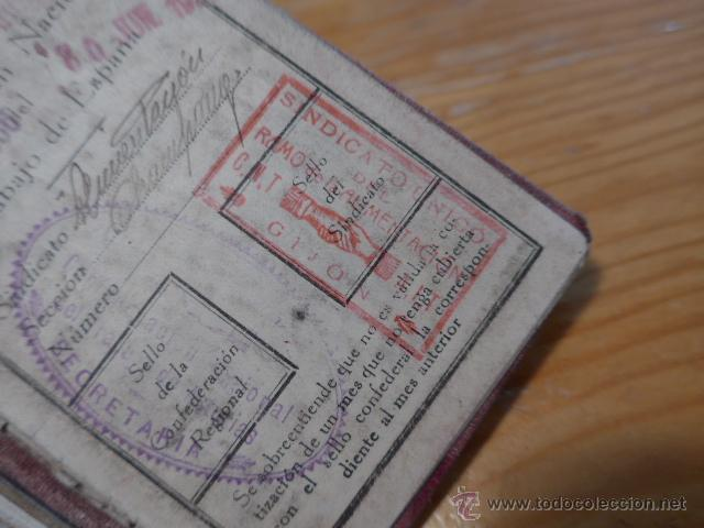 Militaria: Antiguo carnet de CNT, gijon, asturias. Guerra civil - Foto 6 - 42882045