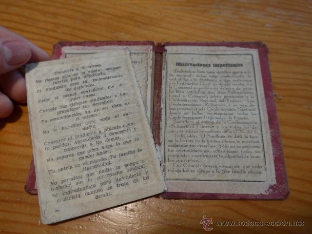Militaria: Antiguo carnet de CNT, gijon, asturias. Guerra civil - Foto 7 - 42882045