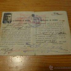 Militaria: ANTIGUO CARNET DE COMISSIO INDUSTRIA DE GUERRA DE GENERALITAT CATALUNYA, 1936, GUERRA CIVIL. Lote 42882127
