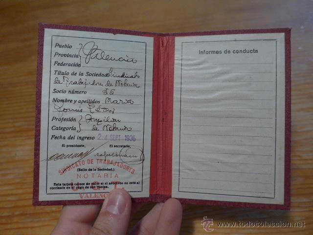 Militaria: Antiguo carnet de UGT, Valencia, 1936. Guerra civil - Foto 2 - 42882240