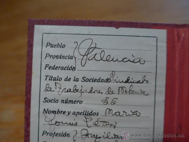 Militaria: Antiguo carnet de UGT, Valencia, 1936. Guerra civil - Foto 3 - 42882240
