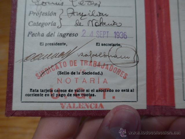 Militaria: Antiguo carnet de UGT, Valencia, 1936. Guerra civil - Foto 4 - 42882240