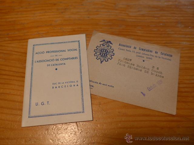 ANTIGUO CARNET DE UGT DE COMPTABLES DE CATALUNYA, 1937, GUERRA CIVIL (Militar - Guerra Civil Española)