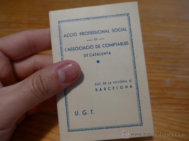Militaria: Antiguo carnet de UGT de comptables de catalunya, 1937, guerra civil - Foto 2 - 42882278