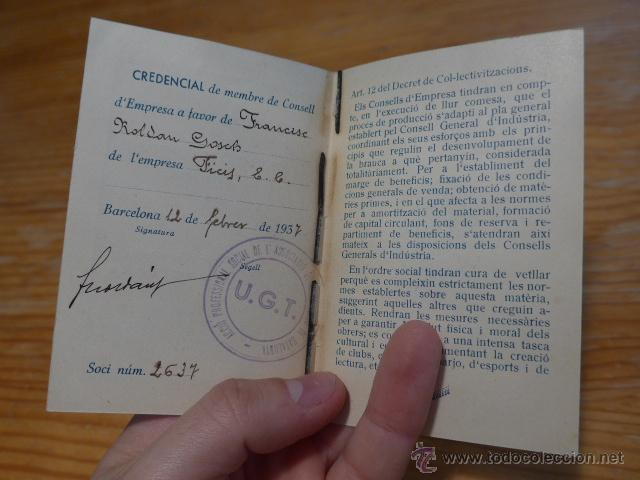 Militaria: Antiguo carnet de UGT de comptables de catalunya, 1937, guerra civil - Foto 3 - 42882278
