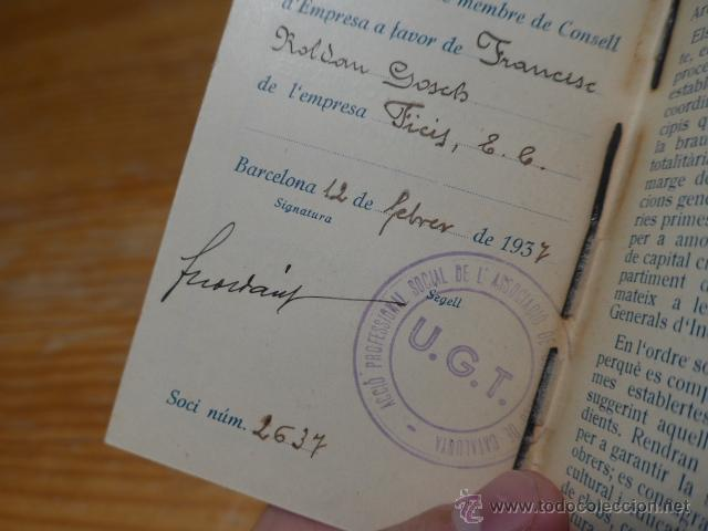 Militaria: Antiguo carnet de UGT de comptables de catalunya, 1937, guerra civil - Foto 4 - 42882278